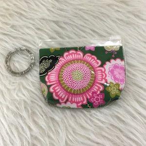 Vera Bradley green floral key chain coin purse